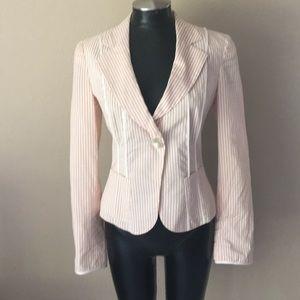 Armani Collezioni pink white striped blazer jacket